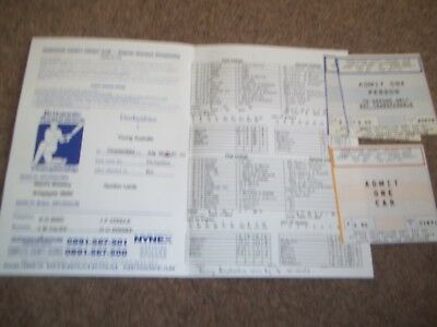 Derbyshire V Young Australia @ Chesterfield July 1995 Scorecard & Tickets