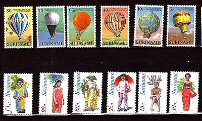 EP233 SURINAME timbres neufs ,2 series Sc# 655-660 et 541-546 ballons/costumes