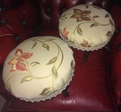 Pair Of Antique Victorian FootStools New Laura Ashley Upholstery Queen Anne legs