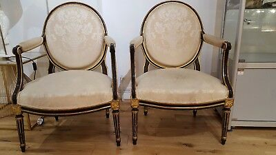 A pair of French 18th Century Louis XVI Period armchairs