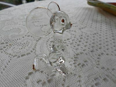 "Small Figurine Blown Glass  Mouse w/ Gold Accents 2 1/2"" X 3"""