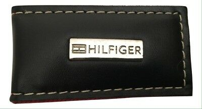 New Men's Tommy Hilfiger Black Leather Magnetic Money Clip in Gift Box