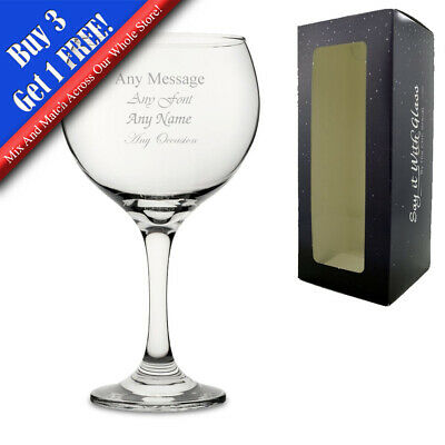 Personalised Engraved Gin Balloon Glass Gin & Tonic Birthday Present Gift