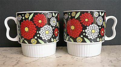 Retro Stackable Coffee Mugs JAPAN Chysanthemums FLOWER POWER Nesting Vintage