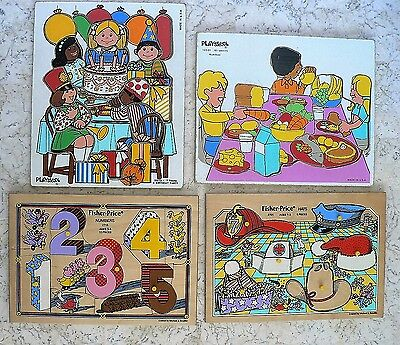 4 Vintage Wooden Tray Puzzle FISHER PRICE PLAYSKOOL Hats Party Food Numbers