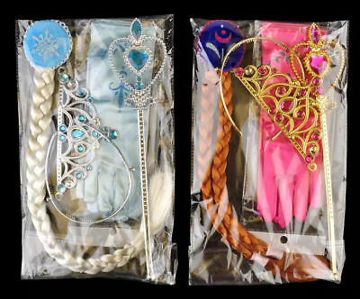 Frozen Elsa Princess Anna Girl's Gloves Wand Crown Wig Cosplay Costume 4 pc Set