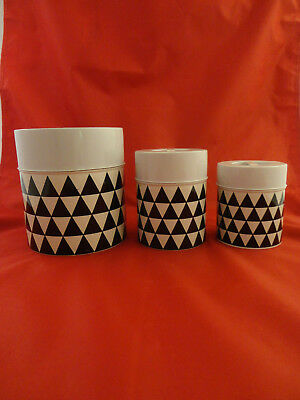 Vintage Counterpoint Black White Geometric Nesting Canister Set
