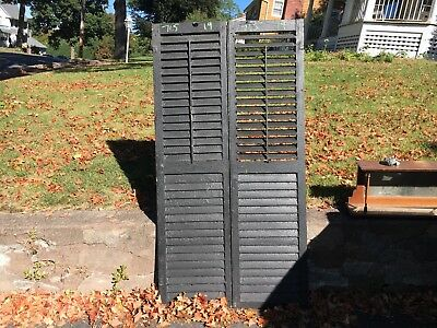 "PaiR victorian louvered house window SHUTTERS black PAINT SURFACE 71.5"" x 19"""
