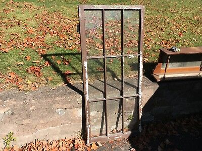 "c1900 antique casement sunroom window door chocolate brown 52"" x 23.5"" old glass"