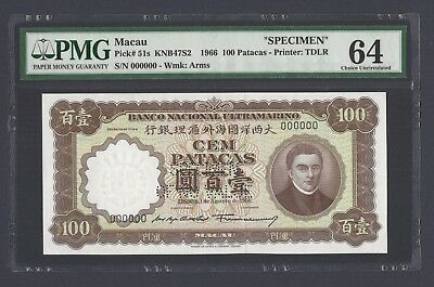 Macau 100 Patacas ND(1966) P51S Specimen Perforated Uncirculated