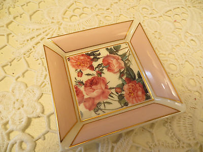 The Smithsonian Collection Souvenir Rose Floral Trinket Dish Crafted By Goebel