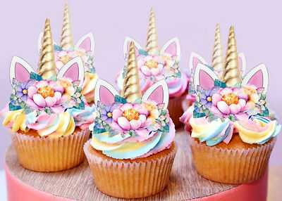 12 Stand Up Unicorn Gold Horn Ears Fairy Edible Cupcake Cake Images Toppers 2