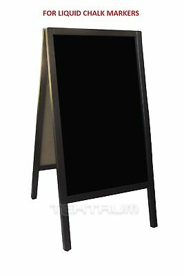 "TEKTRUM LARGE DOUBLE-SIDE SIDEWALK A-FRAME DARK WOOD SANDWICH SIGN BOARD 20"" x"
