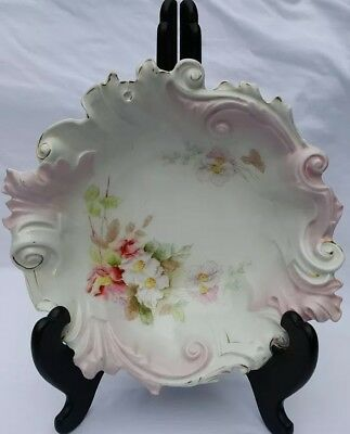 Large Unmarked Wild Rose Hand Painted Scalloped Bowl Pink Gold 10 1/2""