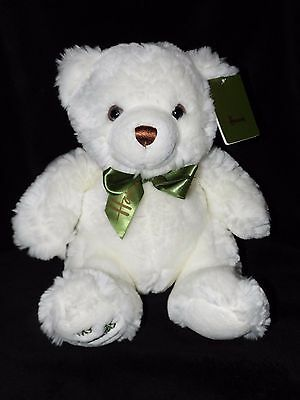 With Tag Harrods My Harrods Teddy Soft Toy White Green Bear Comforter Doudou