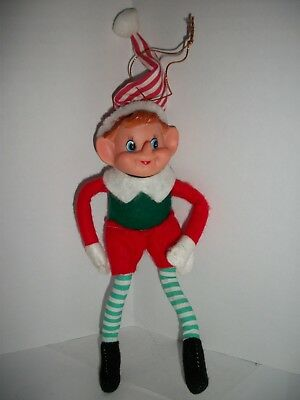 "Vintage Pixie Elf Plastic Felt Green Stripe Christmas Ornament 9"" tall"