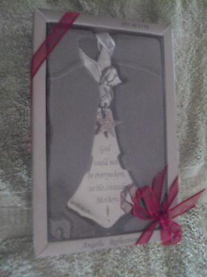 Angelic Reflections!~Angel Christmas Ornament~Pewter & Glass~Mint In Box