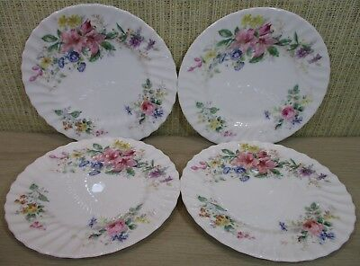 "(4) Royal Doulton ""Arcadia"" Set 4 Salad/Luncheon Plates Flowers Scalloped Border"
