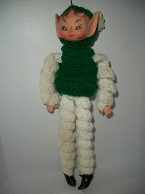 "Vintage Crochet Pixie Elf  Doll ~ Christmas Ornament ~ 12"" tall Green / White"