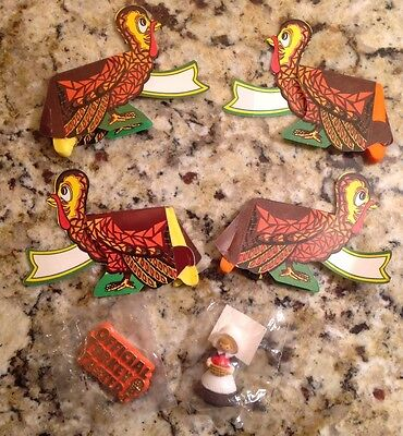 Vintage Thanksgiving Lot - Hallmark Pins, Turkey Honeycomb? Table Top Name Plate