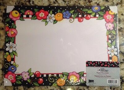 """Mary Engelbreit Floral Flower Cherry Paper Placements, Package Of 6, 10"""" x 14"""""""