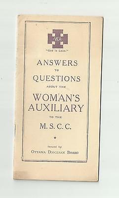 Woman's Auxiliary Mscc Ottawa Diocesan Board 1930's Answer To Questions