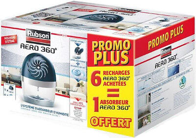 NEUF Rubson Aero 360° 1 Absorbeur d'humidité 20m² + 6 Recharges