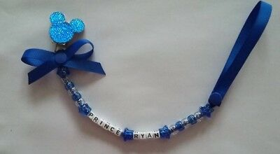 Personalised Blue Thomas The Tank Mickey Mouse Dummy Clip Perfect Baby Gift