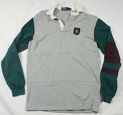 Rare Vintage POLO BY RALPH LAUREN RL Wing Embroidered Patch Rugby Shirt 90s SZ M