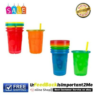 Spill Proof Durable Plastic Cups Tumbler With Lids Straws Preschoolers Baby 4pck