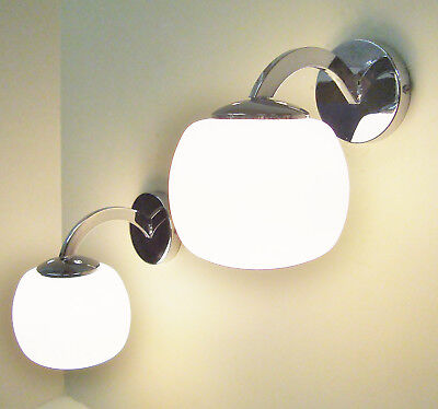 PAIR 1970's SCONCES WALL LIGHTS LAMPS CHROME AND GLASS APPLIQUES ANNEES 70