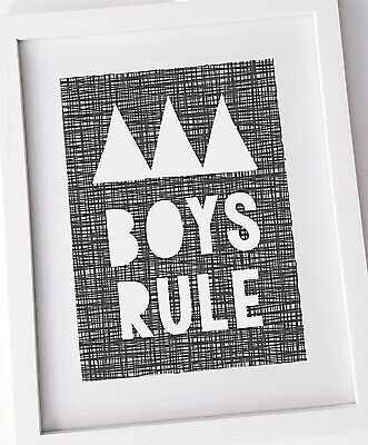 Boys Rule, Monochrome print, black and white kids wall decor, Boy room UNFRAMED