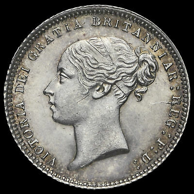 1871 Queen Victoria Young Head Silver Sixpence, Rare, ABU