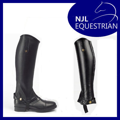 Brogini Treviso Equi Leather horse riding gaiters/half chaps black - All Sizes