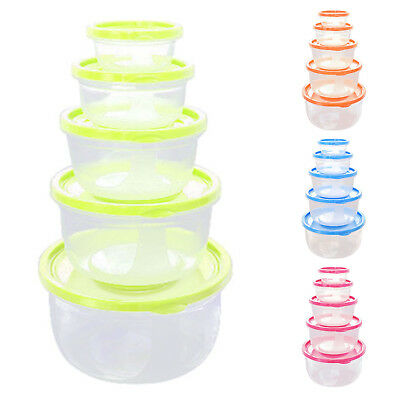 FP 5Pcs Plastic Food Storage Containers Fresh Refrigerator Seal Box Round Green