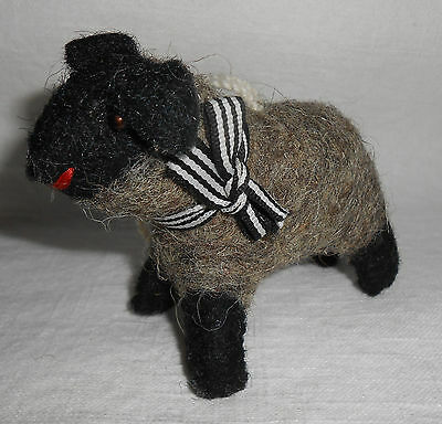 Cute Felted Wood Sheep Figurine Christmas Ornament Black Face Grey Body