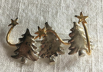 Vintage Christmas 3 Trees Stars Brooch Pin Silver & Gold-tone Trio Holiday