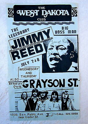 JIMMY REED Rare HAND SIGNED 1976 Berkeley BLUES Club FLYER Poster INSCRIBED