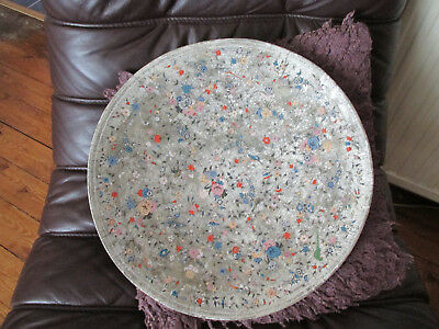 ANTIQUE LARGE  WOODEN WALL PLAQUE PLATE . Chintz pattern . Shabby Chic.39cm