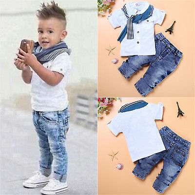 Toddler Kids 3pcs Summer Clothes T-shirt Top Scarf Denim Pant Boy Casual Outfits