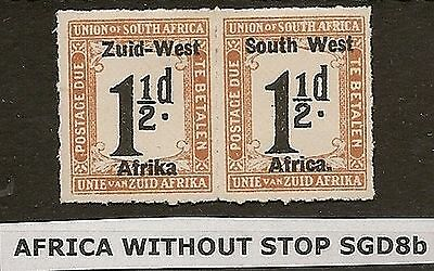 SOUTH WEST AFRICA POSTAGE DUES 1923 1½d (roul) AFRICA WITHOUT STOP SGD8b SACC3b