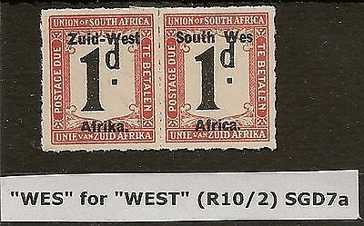 """SOUTH WEST AFRICA 1923 1d POSTAGE DUE  """"WES"""" for """"WEST"""" SGD7a SACC2a 3000 RAND"""