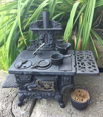 Vintage Cast Iron Crescent Miniature Stove With All The Accessories