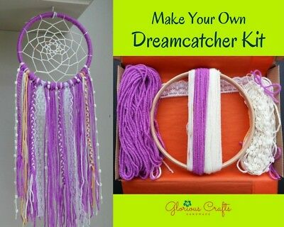 "DIY Dreamcatcher Kit, 6"", Magenta, Bohemian, Craft, Birthday, Christmas, Gift"