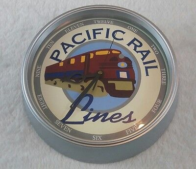 Pacific Rail 10' Round Wall Clock Battery Operated Works! (G2)