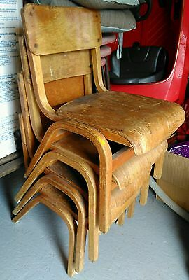 4 vintage retro bentwood school stacking chairs original condition