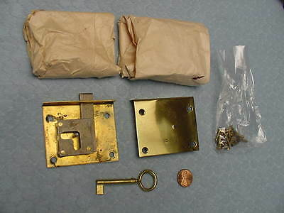 Brass Drawer Locks Polished Set of 5 Never Used Key Furniture