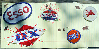 Choose Pick One . Vtg Oil Gas Logo Patches Esso, Mobil, Gulf