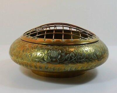 Vintage Indian Brass Rose Bowl Posy Vase with Engraved Flowers