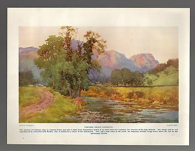 (5874)  Yewdale Craggs Coniston    Cuthbert Rigby   c.1930s  Print